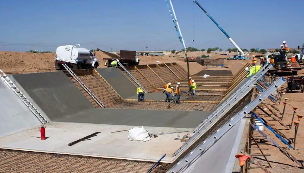 как залить бетон под наклоном